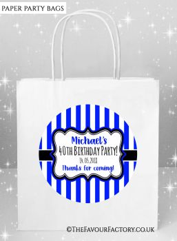 Adult Birthday Party Bags Stripes x5