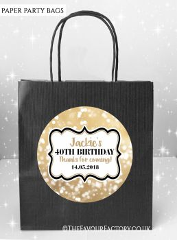 Adult Birthday Party Bags Gold Bokeh Sparkles x5