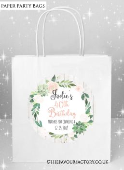 Adult Birthday Party Bags Floral Succulents x5