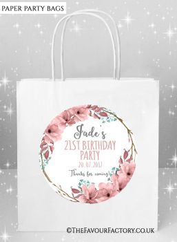 Adult Birthday Party Bags Boho Floral Wreath x5
