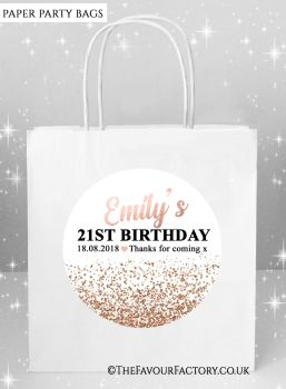 Adult Birthday Party Bags Rose Gold Glitter Confetti x5