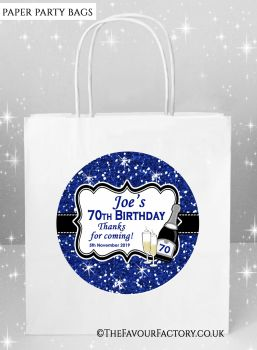 Adult Birthday Party Bags Navy Glitter Champagne x5