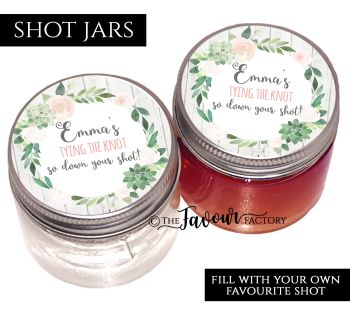 Hen Party Shot Jars Personalised Floral Succulents - £1 each