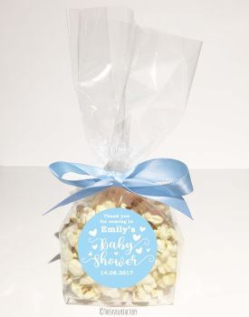 Baby Shower Popcorn Favour Bags Kits Love Hearts Blue x12