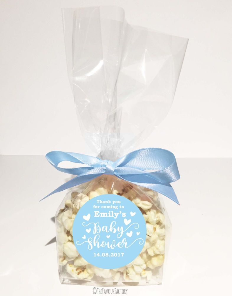 Personalised Baby Shower Popcorn Favour Bags Kits Love Hearts Blue x12
