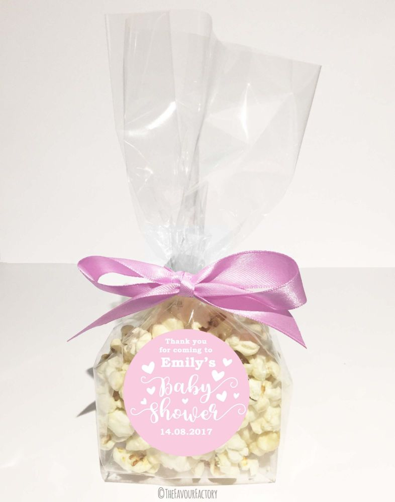 Personalised Baby Shower Favour Bags Kits Love Hearts Pink x12