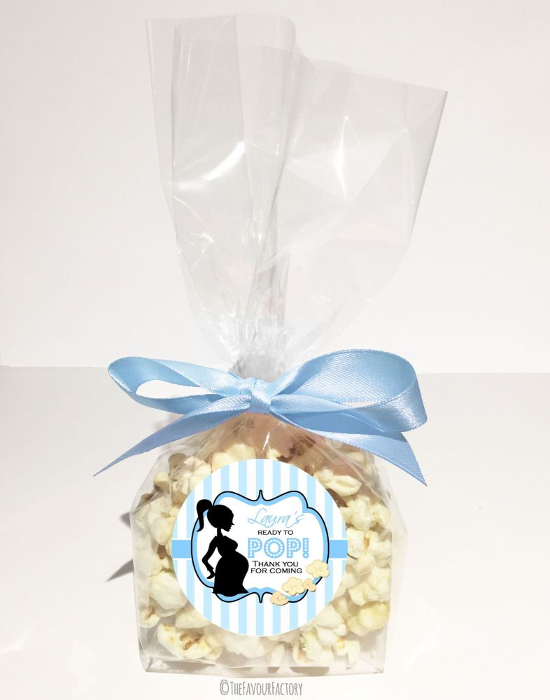 Personalised Baby Shower Favour Bags Ready To Pop Mummy Blue