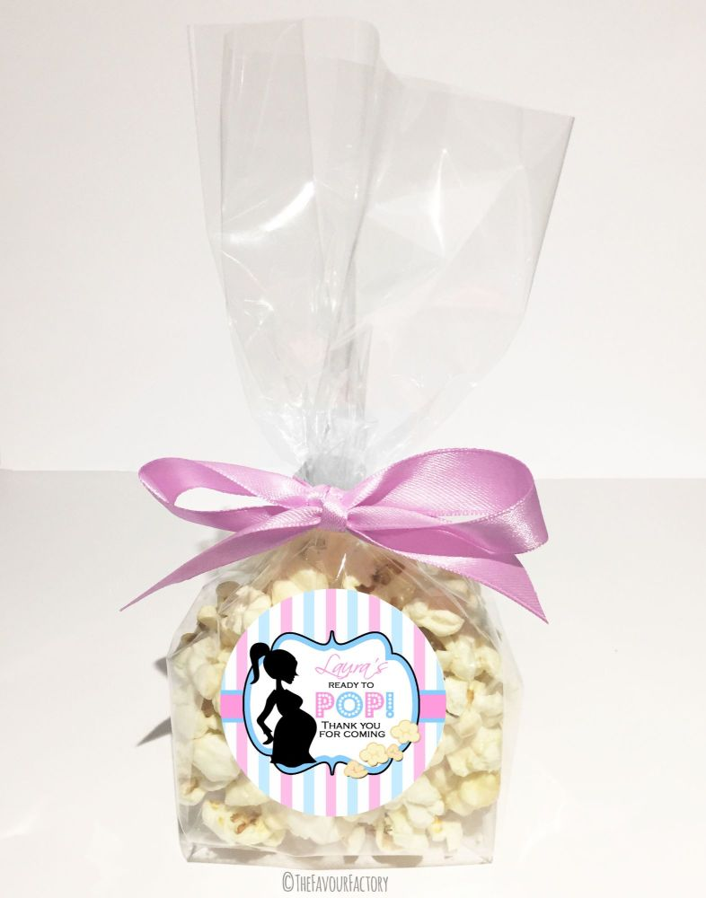 Baby Shower Popcorn Favour Bags Kits Ready To Pop Mum Pink & Blue x12