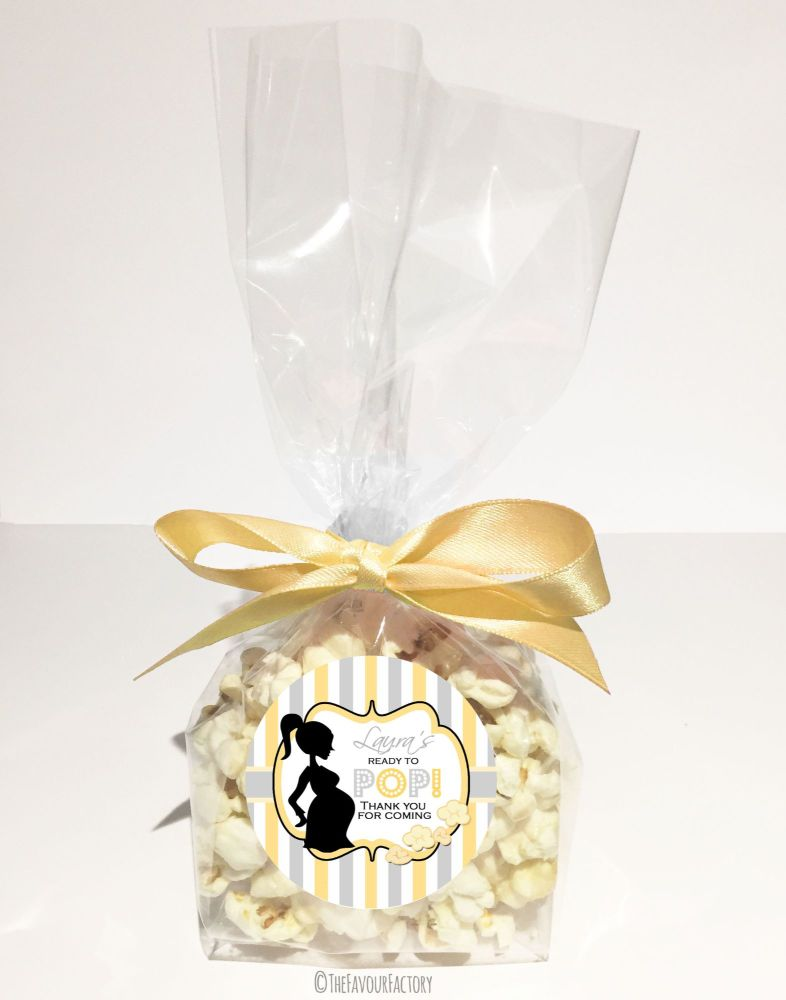 Personalised Baby Shower Favour Bags Kits Ready To Pop Mummy Yellow Grey x12