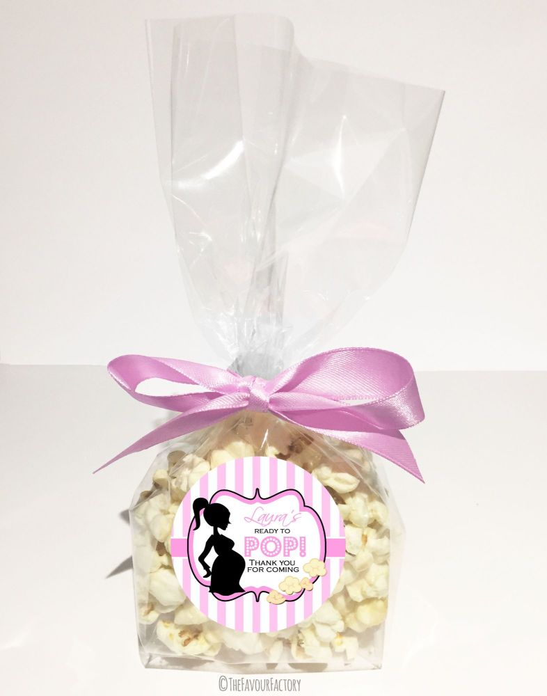 Baby Shower Popcorn Favour Bags Kits Ready To Pop Mummy Pink x12