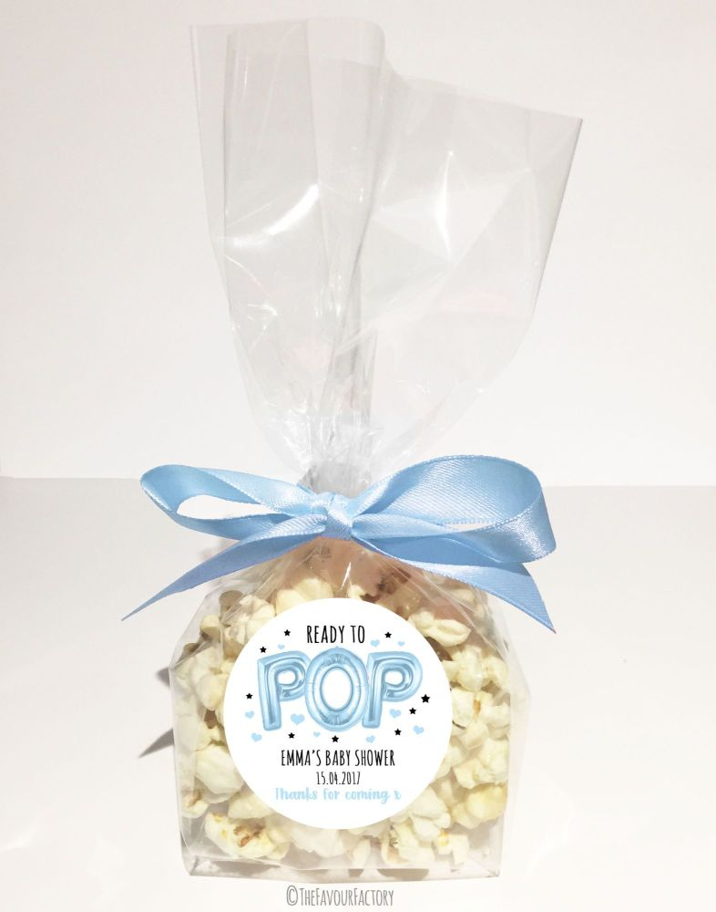 Baby Shower Popcorn Favour Bags Kits Ready To Pop Balloons Blue x12