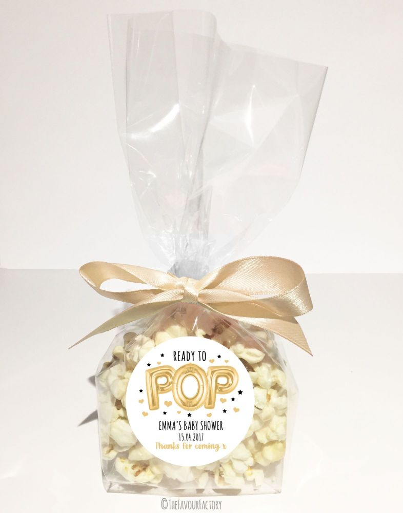 Baby Shower Popcorn Favour Bags Kits Ready To Pop Balloons Gold x12