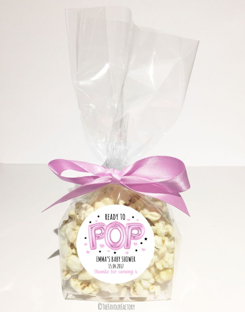 Baby Shower Popcorn Favour Bags Kits Ready To Pop Pink Balloons x12