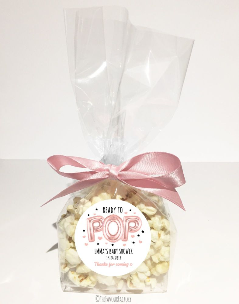 Baby Shower Popcorn Favour Bags Kits Ready To Pop Balloons Rose Gold x12
