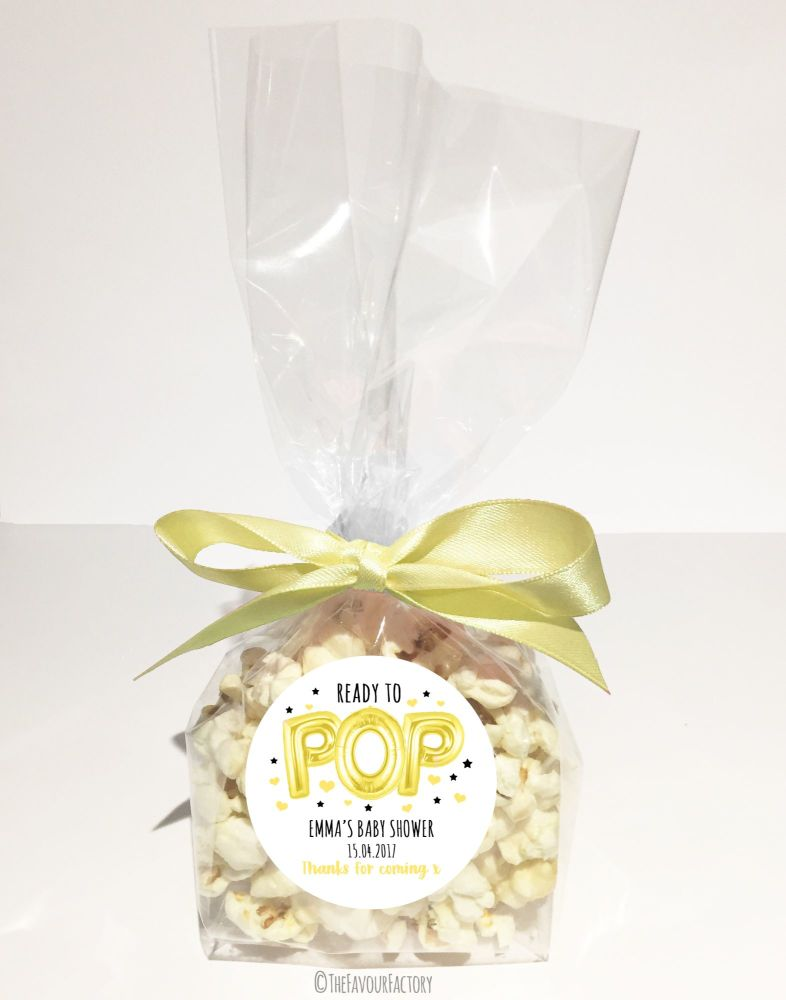 Baby Shower Popcorn Favour Bags Kits Ready To Pop Yellow Balloons x12