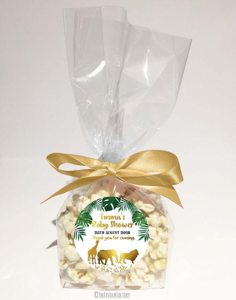 Baby Shower Popcorn Favour Bags Kits Gold Safari Animals x12