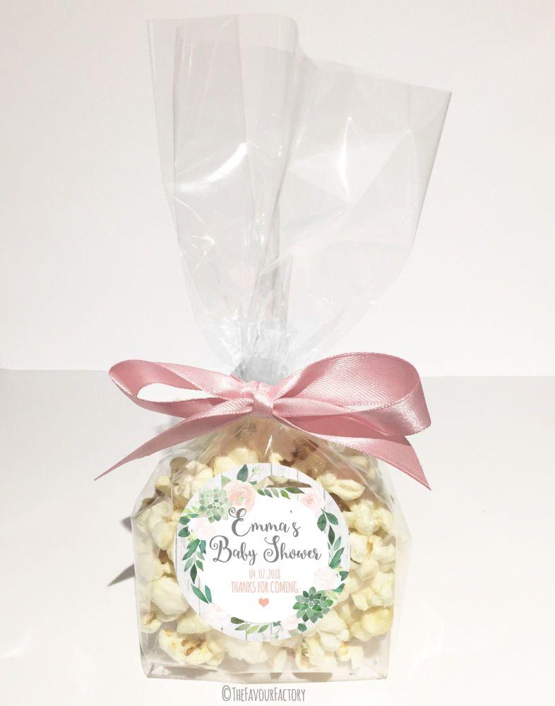 Baby Shower Popcorn Favour Bags Kits Succulents x12