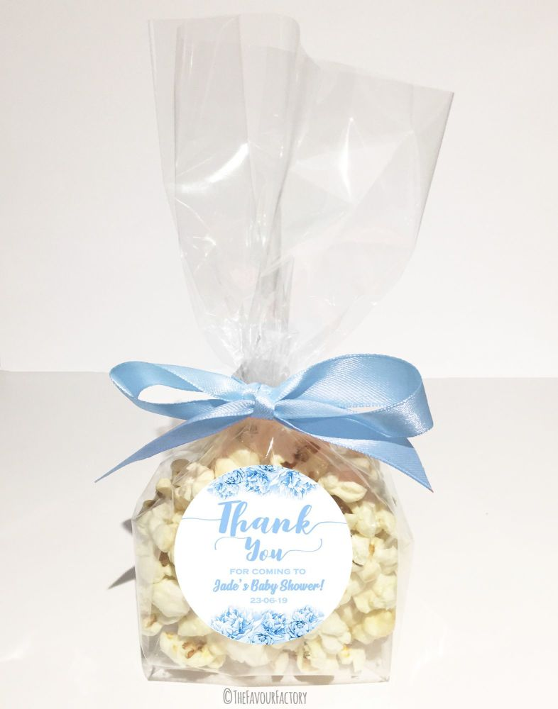 Baby Shower Popcorn Favour Bags Kits Ready To Pop Blue Floral x12