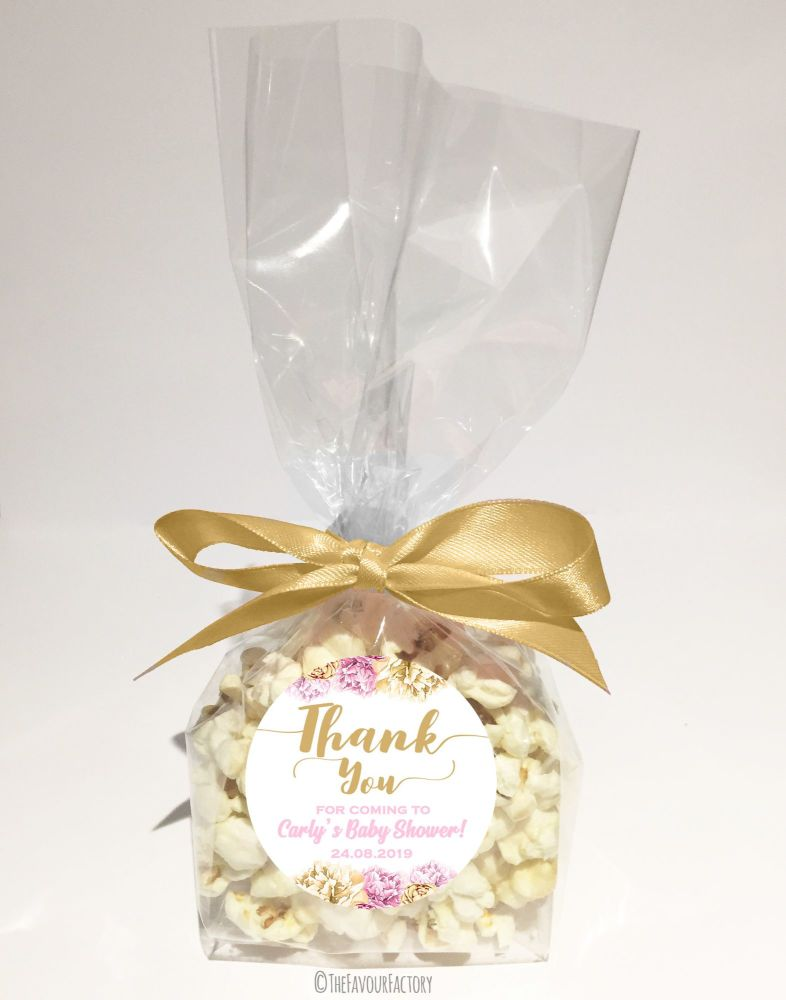 Baby Shower Popcorn Favour Bags Kits Thank You Floral Pink And Gold  x12
