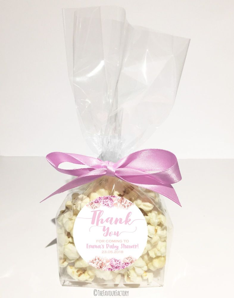 Baby Shower Popcorn Favour Bags Kits Ready To Pop Thank You Florals Pink  x12