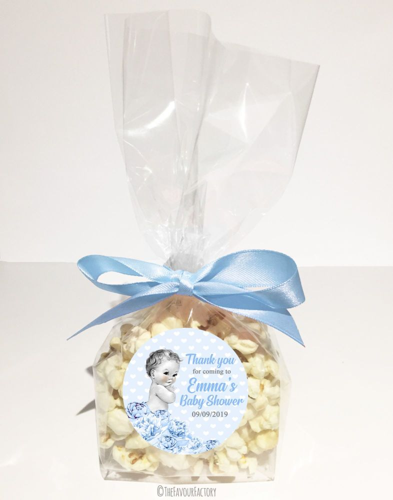 Baby Shower Popcorn Favour Bags Kits Vintage Baby Boy x12