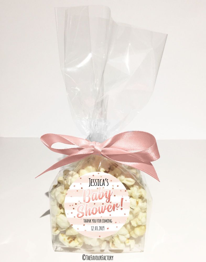 Personalised Baby Shower Favour Bags Kits Confetti Stripes Rose Gold x12