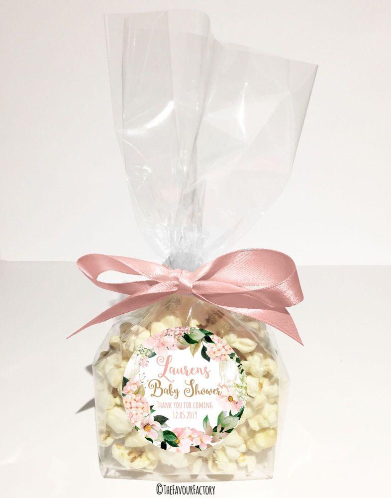 Baby Shower Popcorn Favour Bags Kits Blush Hydrangeas x12