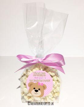 Kids Party Popcorn Treat Bags Kits Teddy bear Pink x12