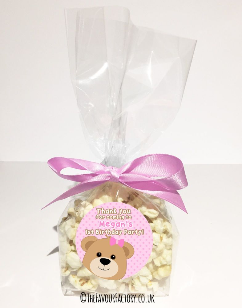 Kids Party Goody Bags Kits Teddy bear Pink x12