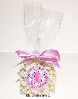 Kids Party Popcorn Treat Bags Kits Age Pink Star x12