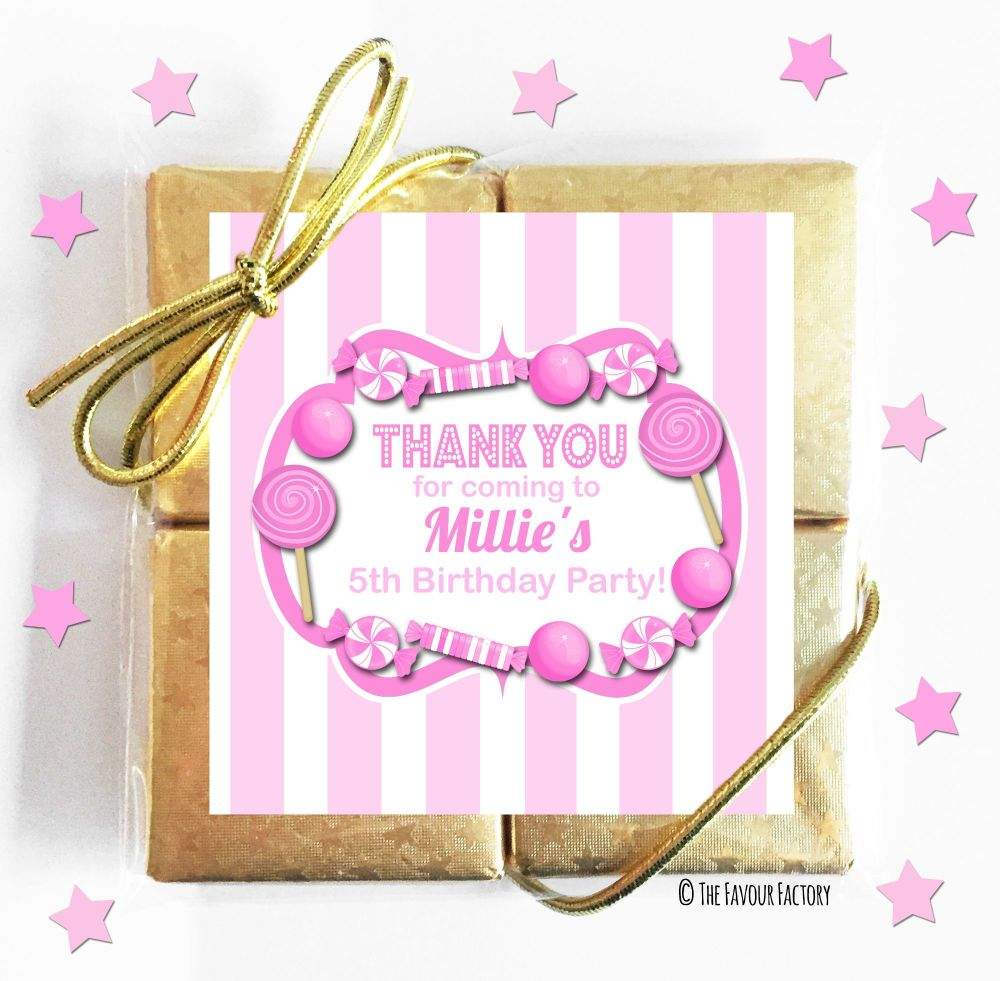 Kids Party Chocolate Quads Favours Pink Candy Stripes x5