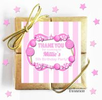 Pink Candy Stripes Kids Party Chocolate Quads