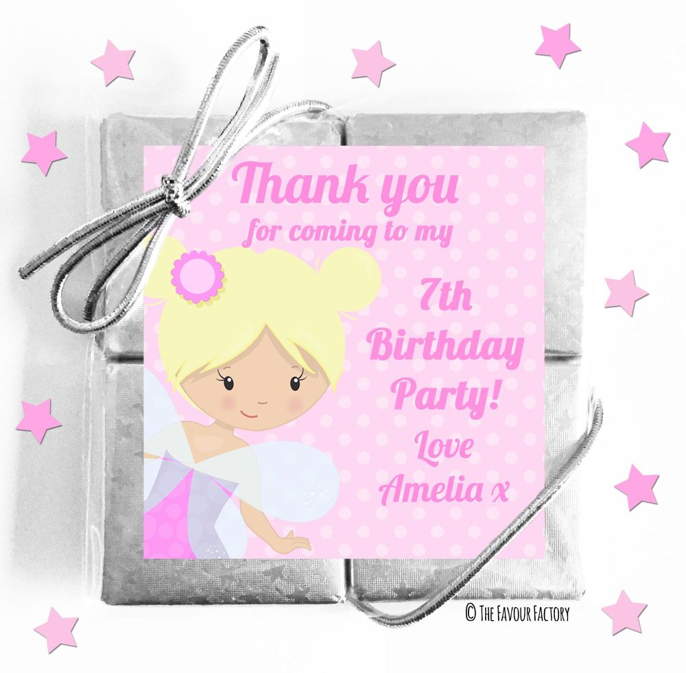 Kids Party Chocolate Quads Favours Pink Fairy x5