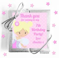 Pink Fairy Kids Party Chocolate Quads
