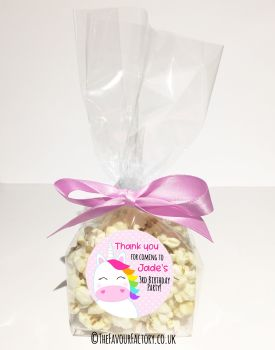 Kids Party Popcorn Treat Bags Kits Rainbow Hair Unicorn x12