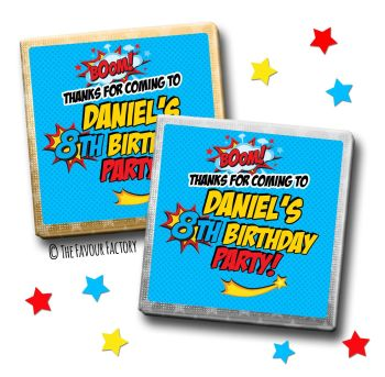 Kids Party Chocolates Favours Personalised Boom Superhero Comic x10