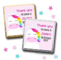 Kids Party Chocolates Favours Personalised Rainbow Hair Unicorn x10