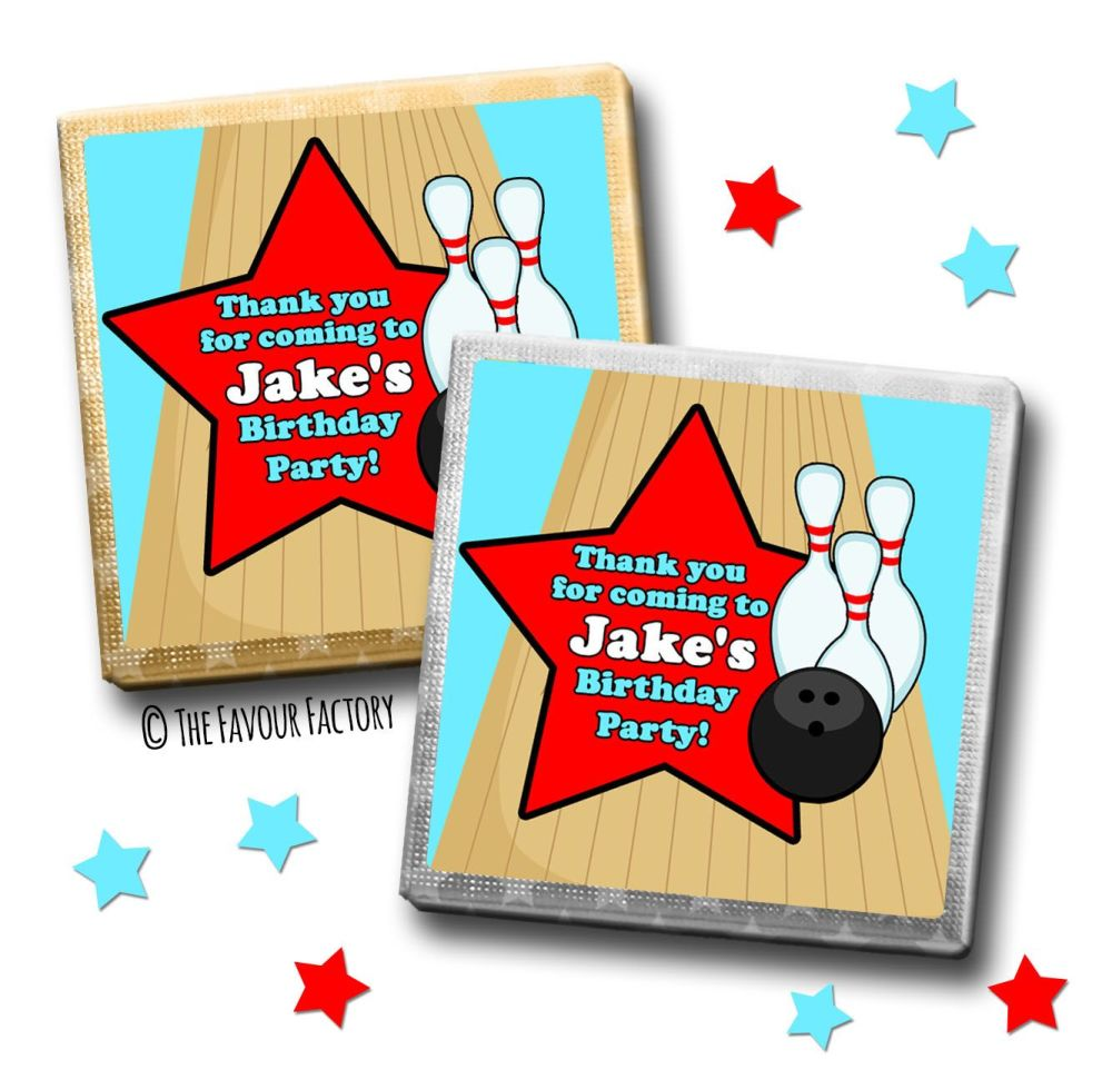 Kids Party Chocolates Favours Personalised Boys Bowling x10