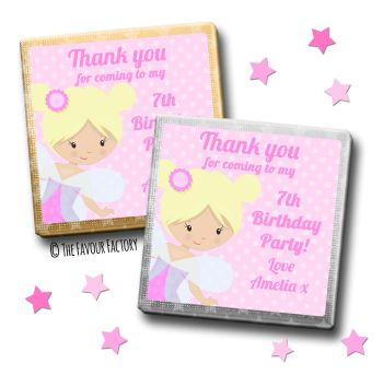 Kids Party Chocolates Favours Personalised Fairy x10