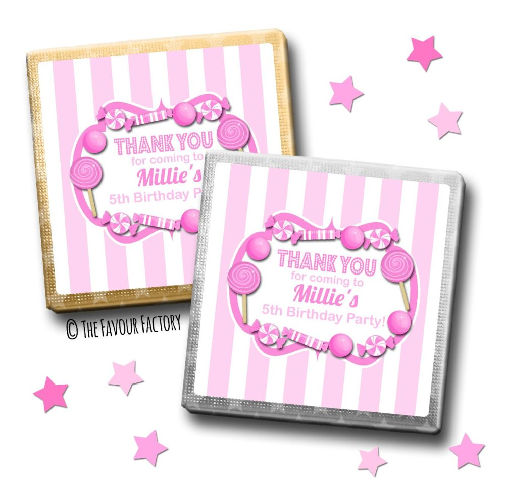 Kids Party Chocolates Favours Personalised Candy Sweets Stripes Pink x10