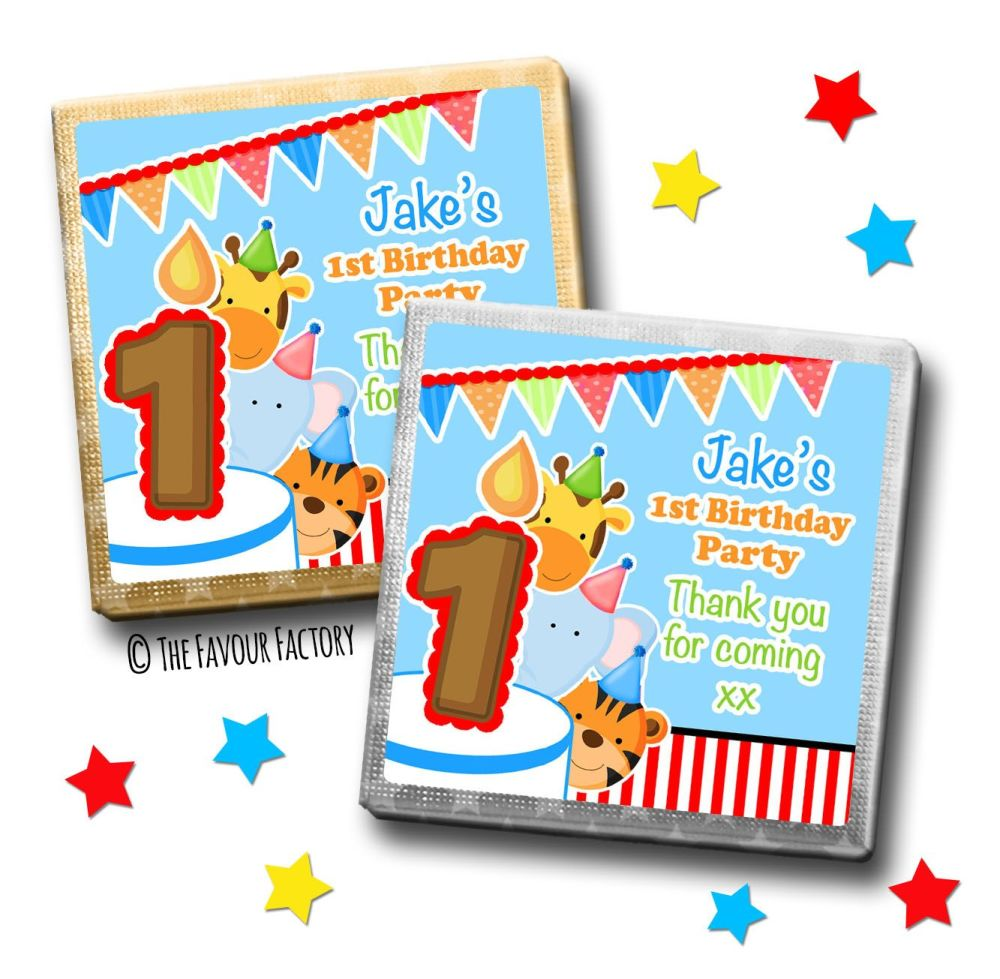Kids Party Chocolates Favours Personalised Party Animals Boys x10