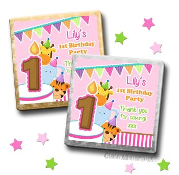 Kids Party Chocolates Favours Personalised Party Animals Girls x10