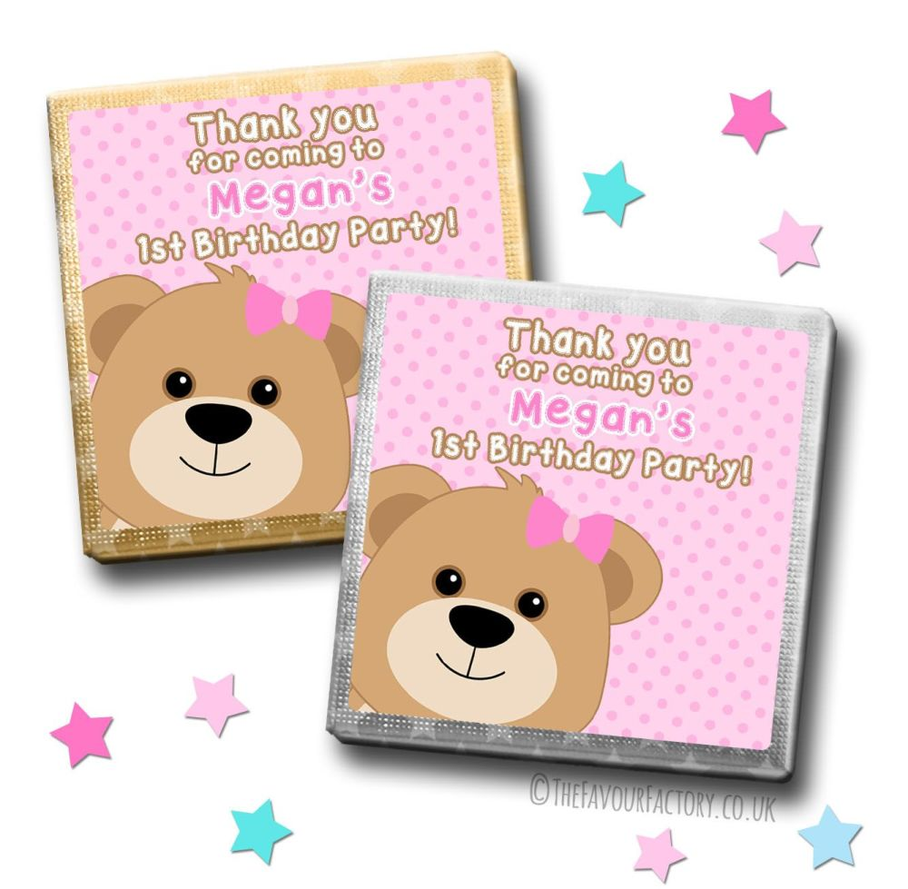 Kids Party Chocolates Favours Personalised Pink Teddy x10