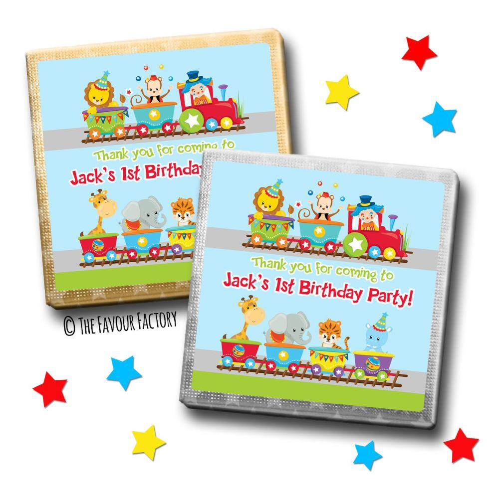Kids Party Chocolates Favours Personalised Circus Animal Train x10