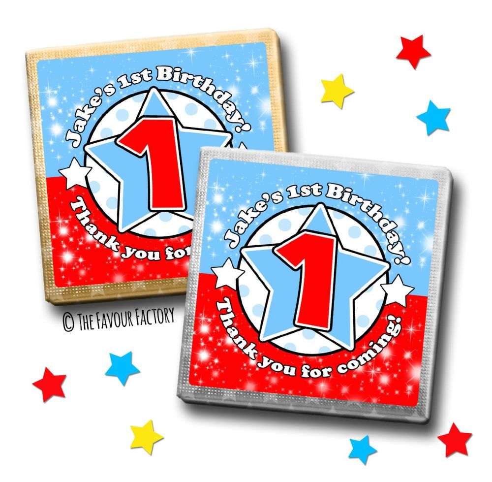 Kids Party Chocolates Favours Personalised Star Age Blue Red x10