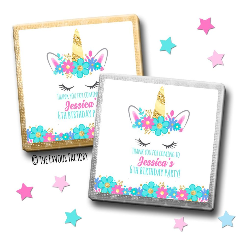 Kids Party Chocolates Favours Personalised Floral Unicorn Face x10