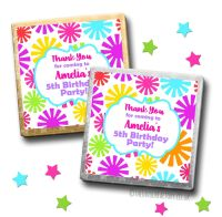 Kids Party Chocolates Favours Personalised Funky Flowers x10