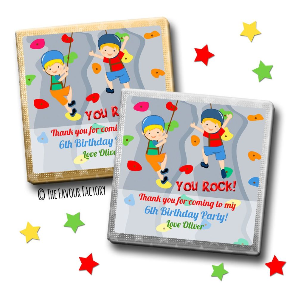 Kids Party Chocolates Favours Personalised Boys Wall Climbing x10