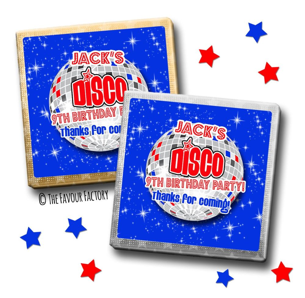 Kids Party Chocolates Favours Personalised Blue Disco x10