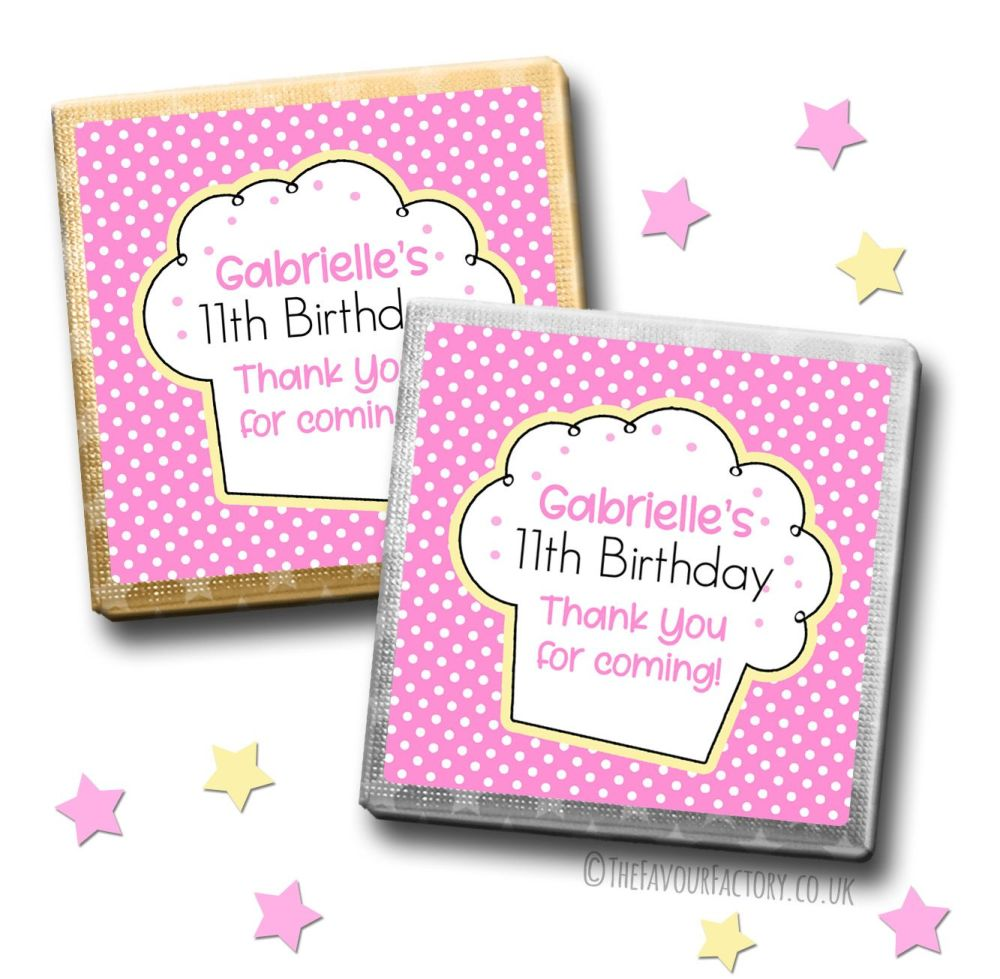 Kids Party Chocolates Favours Personalised Polka Dots Cupcake x10